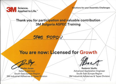 Lisenzed fro Growth level for 3M Authorized Dealer - Partners ltd