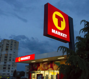 Illuminated sign T-market with 3M MCS Warranty