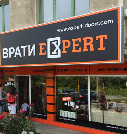 Illuminated sign for Vrati Expert made with 3M 2330 Translucent Films