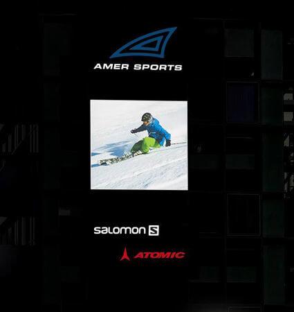 Светеща табела с лога Amer Sports и Salomon със 3M 3635-91, светещи бяло нощем
