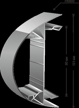 Профил за тотем с огънат под дъга плексиглас - 720350