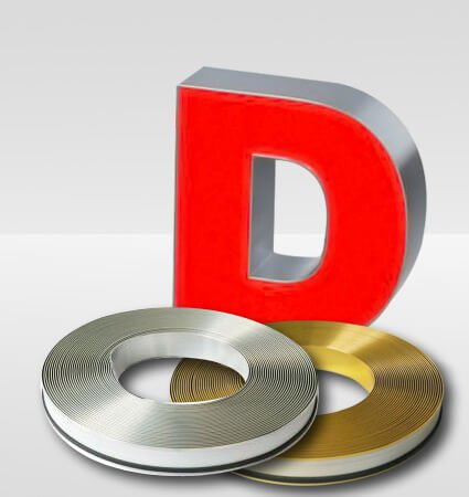 Aluminum band ALURAPID for channel letters - gold and silver mirror