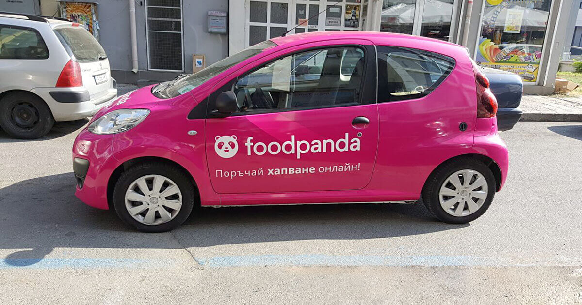 Food Panda cars were wrapped with 3M Scotchcal 80 Film