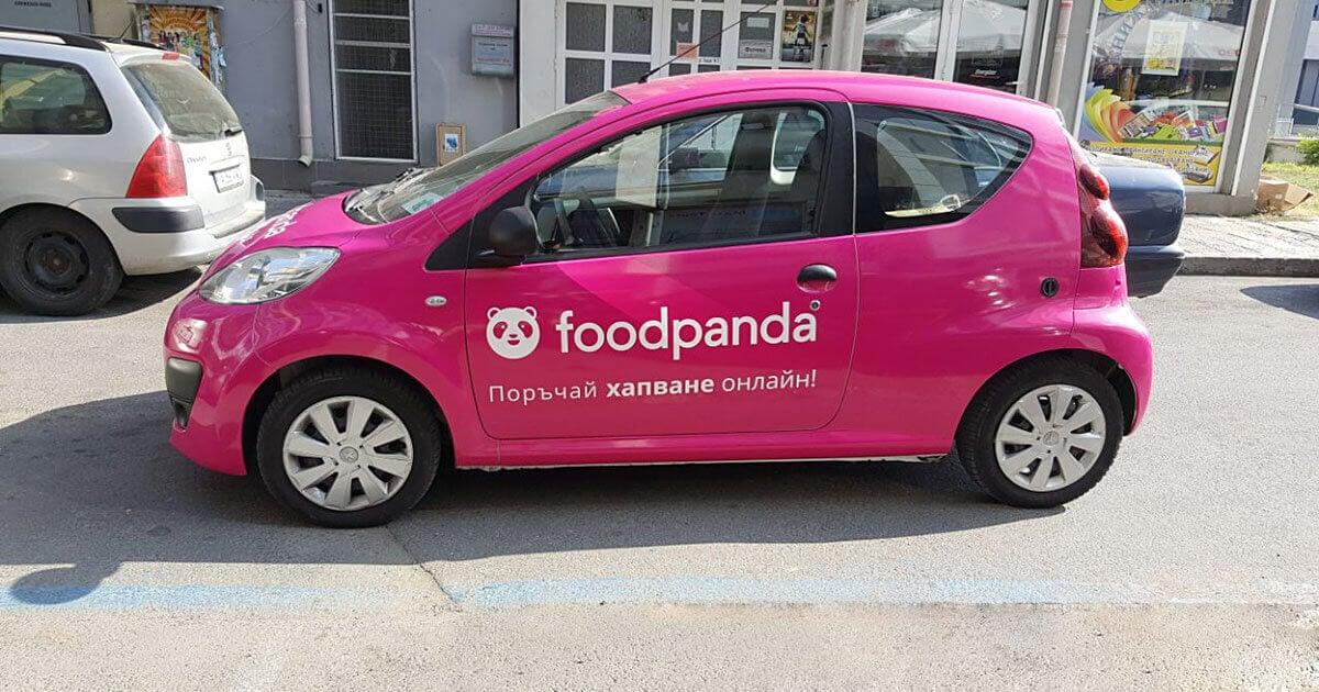 Автомобли на Food Panda облепени с фолио 3M Scotchcal 80