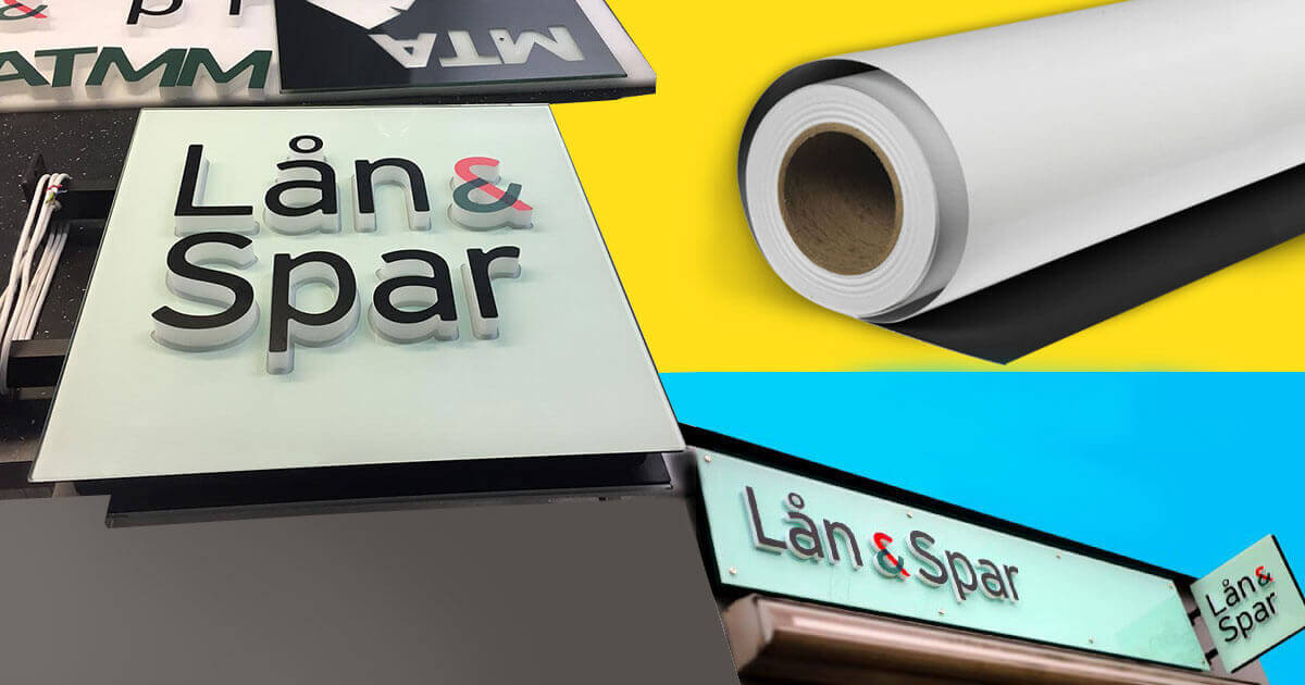 Attractive signage with blockout film for Lan & Spar Bank