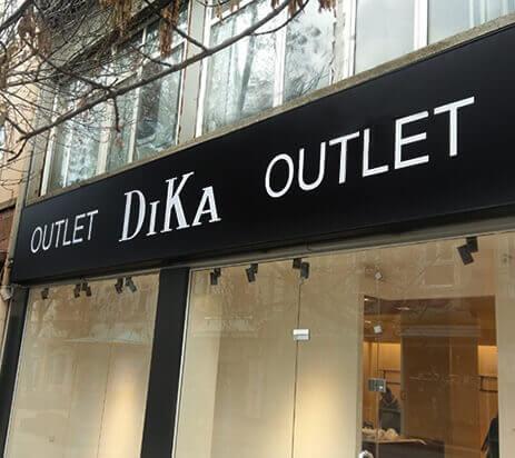 Светеща табела за магазин Dika с винил и алуминиеви профили