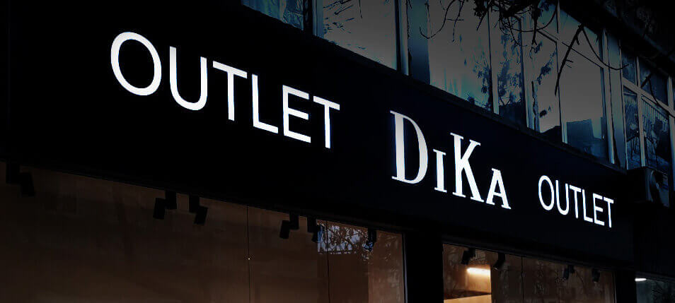 Illuminated sign for Dika shop with stylish design and bright lighting