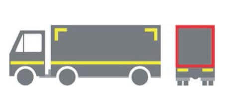 Partial markings of heavy goods vehicles required under ECE104 Reglament