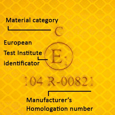 Vehicle Safety Markings required under ECE104 must carry the E-mark